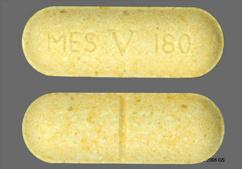 Yellow Oblong Tablet Mes V 180 - Pyridostigmine Bromide 180mg Extended-Release Tablet