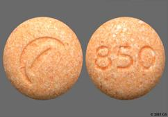 Orange Round Tablet Logo And 850 - Guanfacine 1mg Extended-Release Tablet