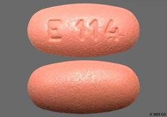 Pink Oval E114 - Valganciclovir 450mg Tablet