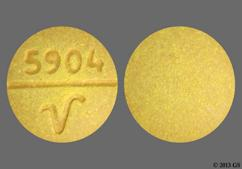 Yellow Round 5904 V - Sulfasalazine 500mg Tablet