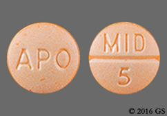 Orange Round Apo And Mid 5 - Midodrine Hydrochloride 5mg Tablet