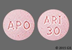 Pink Round Tablet Ari 30 And Apo - Aripiprazole 30mg Tablet