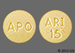 Yellow Round Tablet Ari 15 And Apo - Aripiprazole 15mg Tablet