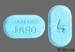 Blue Oblong Tablet Warfarin Taro And 4 - Warfarin Sodium 4mg Tablet