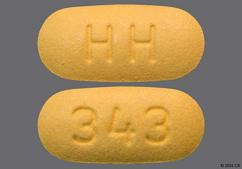 Yellow Oblong Hh And 343 - Valsartan 160mg Tablet