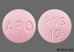 Pink Round Tablet Apo And Ros 10 - Rosuvastatin Calcium 10mg Tablet