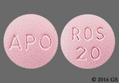 Pink Round Tablet Ros 20 And Apo - Rosuvastatin Calcium 20mg Tablet