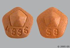 Brown Pentagon Tablet Sb And 4896 - Requip 4mg Tablet