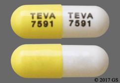 White And Yellow Capsule Teva 7591 Teva 7591 - Atomoxetine 18mg Capsule