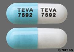 Blue And White Tablet Teva 7592 Teva 7592 - Atomoxetine 25mg Capsule