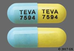 Blue And Yellow Tablet Teva 7594 Teva 7594 - Atomoxetine 60mg Capsule