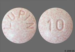 Pink Round 10 And Lupin - Lisinopril 10mg Tablet