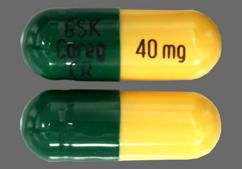Green And Yellow Capsule Gsk Coreg Cr 40Mg - Carvedilol Phosphate 40mg Extended-Release Capsule