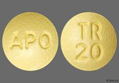 Yellow Round Tablet Tr 20 And Apo - Trospium 20mg Tablet