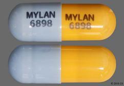 Blue And Peach Capsule Mylan 6898 Mylan 6898 - Amlodipine Besylate/Benazepril Hydrochloride 10mg-20mg Capsule