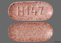 Pink Oblong Tablet H 147 - Lisinopril 20mg Tablet