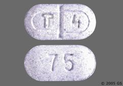 Purple Oblong Tablet 75 And T 4 - Levothroid 75mcg Tablet