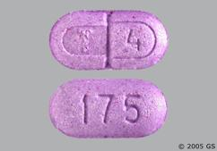 Purple Oblong Tablet 175 And T 4 - Levothroid 175mcg Tablet