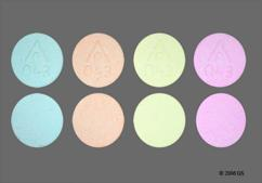 Green, Peach, Pink And Yellow Round Chewable Tablet Logo 043 - Cal-Gest 500mg Chewable Tablet