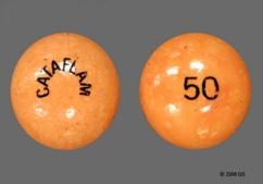 Brown Round Tablet Cataflam And 50 - Cataflam 50mg Tablet