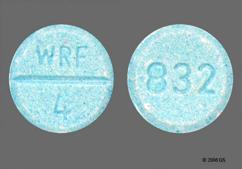 Blue Round Tablet 832 And Wrf 4 - Jantoven 4mg Tablet