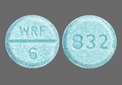 Blue-Green Round Tablet Wrf 6 And 832 - Jantoven 6mg Tablet