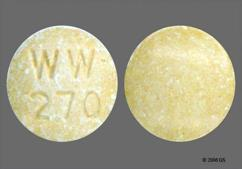 Yellow Round Tablet Ww 270 - Lisinopril 40mg Tablet
