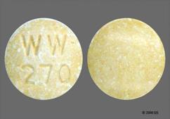Yellow Round Tablet Ww 270 - Lisinopril 40mg Tablet