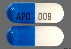 Blue And White Capsule Apo 008 - Dilt-CD 180mg Extended-Release Capsule
