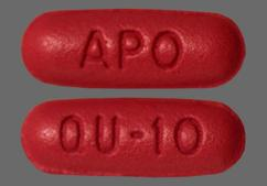 Red-Brown Oblong Tablet Qu-10 And Apo - Quinapril Hydrochloride 10mg Tablet