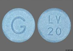 Blue Round Tablet Lv 20 And G - Lovastatin 20mg Tablet