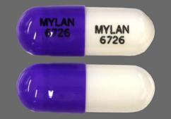 Purple and white mylan 6726 mylan 6726 zonisamide 50mg capsule