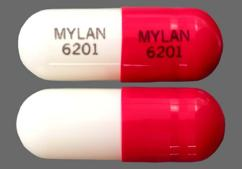 White And Red Capsule Mylan 6201 Mylan 6201 - Verapamil Hydrochloride PM 100mg Extended-Release Capsule