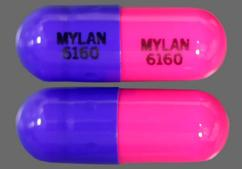 Pink And Purple Capsule Mylan 6160 Mylan 6160 - Propranolol Hydrochloride 60mg Extended-Release Capsule