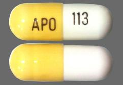 White And Yellow Apo 113 - Gabapentin 300mg Capsule