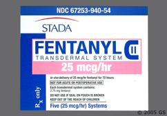 beige and pink rectangular carton - Fentanyl 25mcg/hr Transdermal Patch