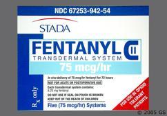 beige and blue rectangular carton - Fentanyl 75mcg/hr Transdermal Patch