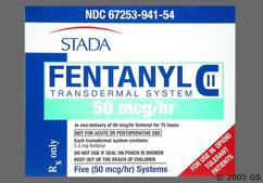 beige and green rectangular carton - Fentanyl 50mcg/hr Transdermal Patch