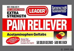 Red And Yellow Round L187 - Leader Pain Reliever Extra Strength 500mg Geltab