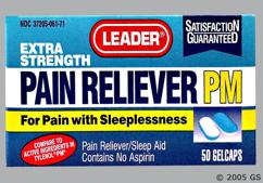 blue and white oblong tablet - Leader Pain Reliever PM GelCap