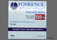 White Round Chewable Tablet S405 1000 - Fosrenol 1000mg Chewable Tablet