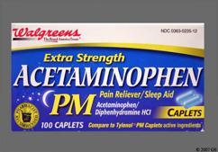 Blue Oblong 44 235 - Walgreens Acetaminophen PM Extra Strength 500mg-25mg Caplet