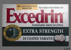 White Round E - Excedrin Extra Strength Tablet