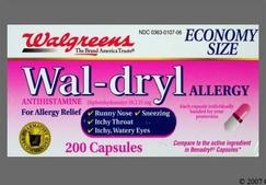 Pink And White 44 107 44 107 Wal dryl Allergy Capsule