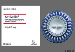 White Round Package Logo And Novo 288 - Activella 1mg-0.5mg Tablet
