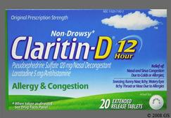 White Round Claritin-D - Claritin-D 12 Hour 5mg-120mg Extended-Release Tablet