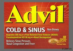 Brown Oblong Tablet Advil Cold & Sinus - Advil Cold and Sinus 200mg-30mg Tablet