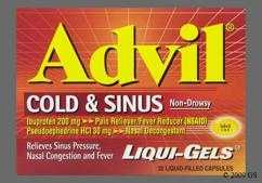orange capsule - Advil Cold and Sinus 200mg-30mg Liqui-Gel Capsule