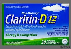 White Round Tablet Claritin-D - Claritin-D 12 Hour 5mg-120mg Extended-Release Tablet