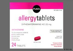 Pink Oblong Tablet L479 And 25 - Publix Allergy 25mg Tablet